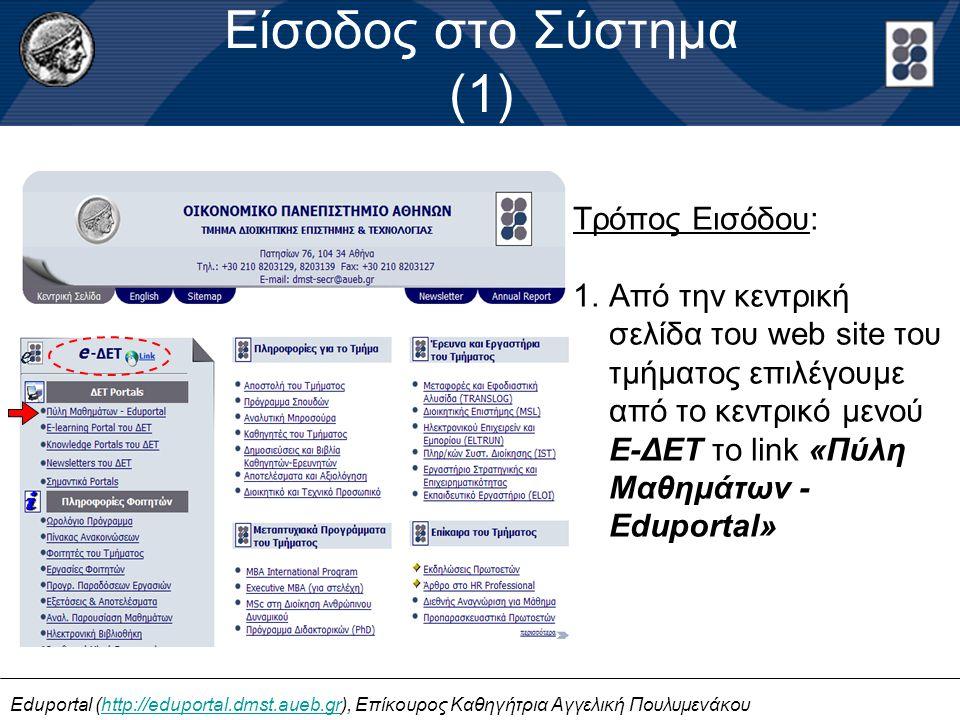 Είσοδος στο Σύστημα (1) Τρόπος Εισόδου: 1.Από την κεντρική σελίδα του web site του τμήματος επιλέγουμε από το κεντρικό μενού E-ΔΕΤ το link «Πύλη Μαθημάτων - Eduportal» Eduportal (http://eduportal.dmst.aueb.gr), Επίκουρος Καθηγήτρια Αγγελική Πουλυμενάκουhttp://eduportal.dmst.aueb.gr