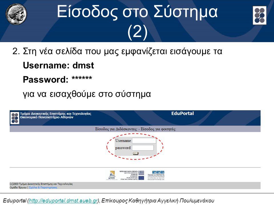 Είσοδος στο Σύστημα (2) Eduportal (http://eduportal.dmst.aueb.gr), Επίκουρος Καθηγήτρια Αγγελική Πουλυμενάκουhttp://eduportal.dmst.aueb.gr 2.Στη νέα σελίδα που μας εμφανίζεται εισάγουμε τα Username: dmst Password: ****** για να εισαχθούμε στο σύστημα