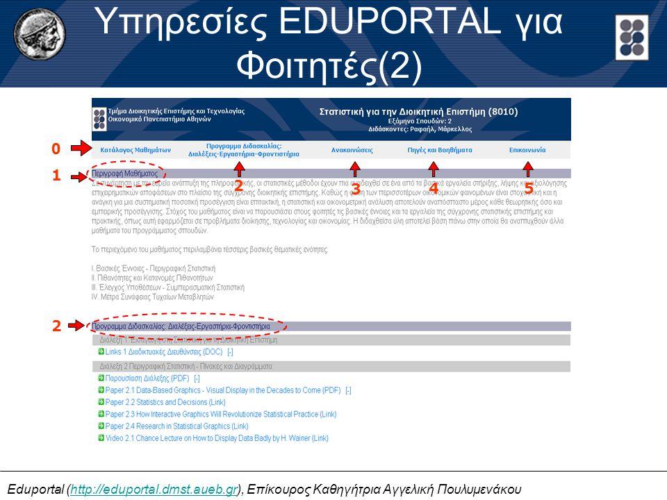 Eduportal (http://eduportal.dmst.aueb.gr), Επίκουρος Καθηγήτρια Αγγελική Πουλυμενάκουhttp://eduportal.dmst.aueb.gr Υπηρεσίες EDUPORTAL για Φοιτητές(2) 1 2 3 4 5 2 0