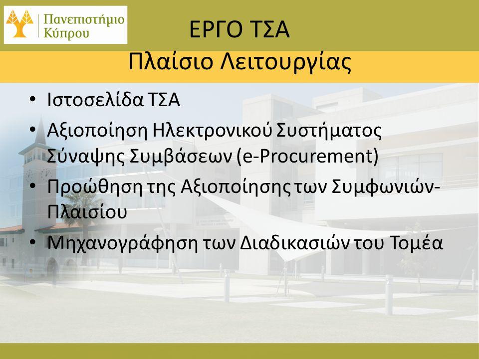 ΕΡΓΟ ΤΣΑ Πλαίσιο Λειτουργίας • Ιστοσελίδα ΤΣΑ • Αξιοποίηση Ηλεκτρονικού Συστήματος Σύναψης Συμβάσεων (e-Procurement) • Προώθηση της Αξιοποίησης των Συμφωνιών- Πλαισίου • Μηχανογράφηση των Διαδικασιών του Τομέα