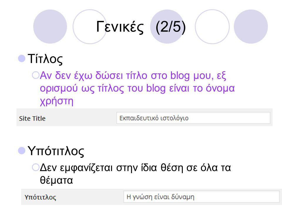 Γενικές (2/5)  Τίτλος  Αν δεν έχω δώσει τίτλο στο blog μου, εξ ορισμού ως τίτλος του blog είναι το όνομα χρήστη  Υπότιτλος  Δεν εμφανίζεται στην ί