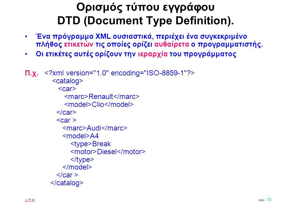 Δ.Π.Θ. xml - 13 Ορισμός τύπου εγγράφου DTD (Document Type Definition).
