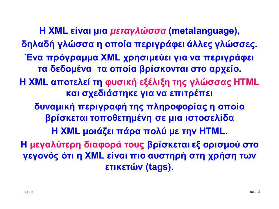 Δ.Π.Θ.xml - 13 Ορισμός τύπου εγγράφου DTD (Document Type Definition).