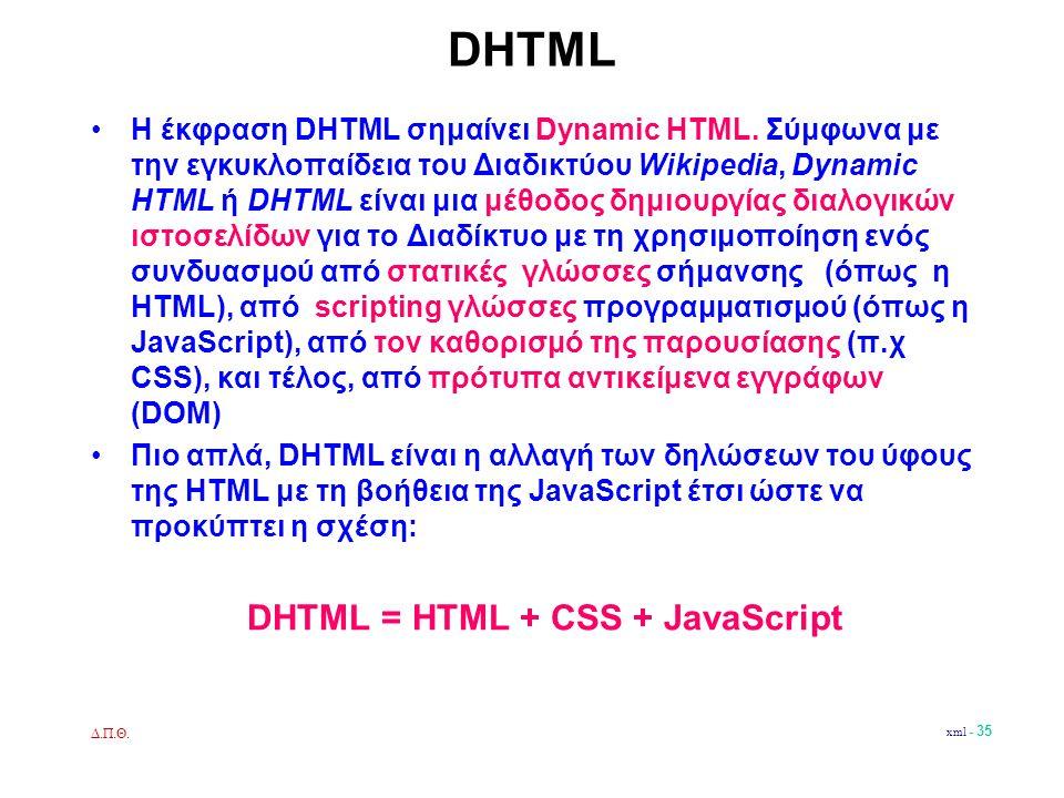 Δ.Π.Θ. xml - 35 DHTML •Η έκφραση DHTML σημαίνει Dynamic HTML.