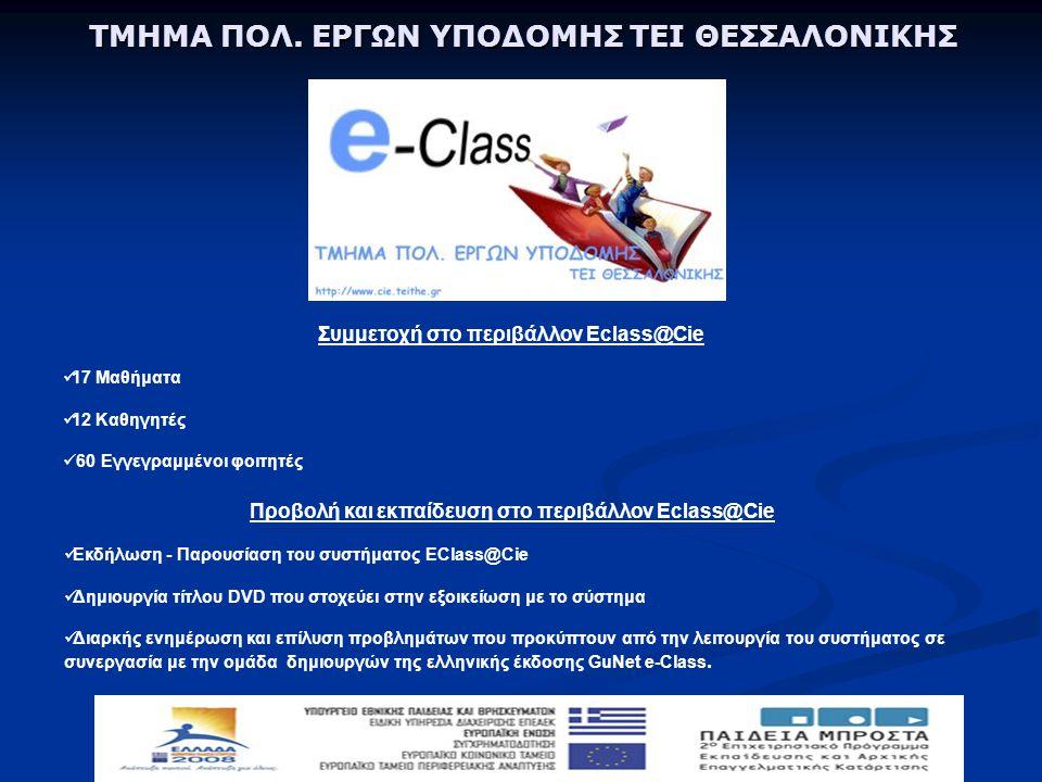 ΤΜΗΜΑ ΠΟΛ. ΕΡΓΩΝ ΥΠΟΔΟΜΗΣ ΤΕΙ ΘΕΣΣΑΛΟΝΙΚΗΣ Προβολή και εκπαίδευση στο περιβάλλον Eclass@Cie  Εκδήλωση - Παρουσίαση του συστήματος EClass@Cie  Δημιου