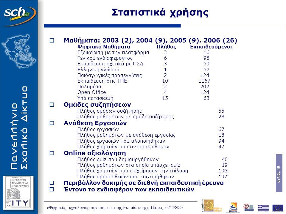 σελίδα 19 «Ψηφιακές Τεχνολογίες στην υπηρεσία της Εκπαίδευσης», Πάτρα, 22/11/2006 Στατιστικά χρήσης  Μαθήματα: 2003 (2), 2004 (9), 2005 (9), 2006 (26