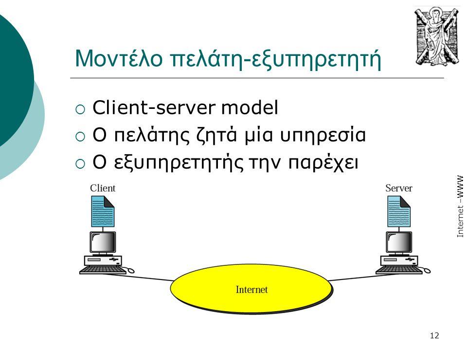 Internet –WWW 12 Μοντέλο πελάτη-εξυπηρετητή  Client-server model  Ο πελάτης ζητά μία υπηρεσία  Ο εξυπηρετητής την παρέχει