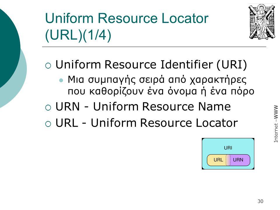Internet –WWW 30 Uniform Resource Locator (URL)(1/4)  Uniform Resource Identifier (URI)  Μια συμπαγής σειρά από χαρακτήρες που καθορίζουν ένα όνομα