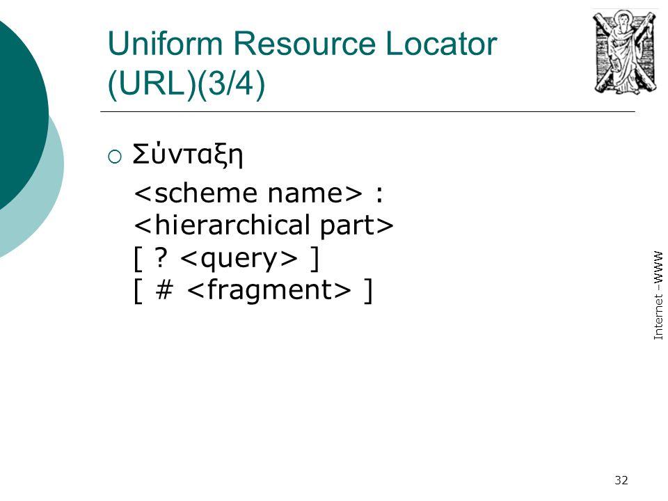 Internet –WWW 32 Uniform Resource Locator (URL)(3/4)  Σύνταξη : [ ? ] [ # ]