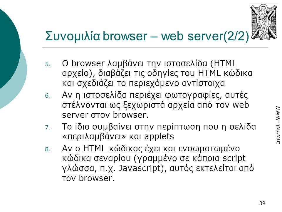 Internet –WWW 39 Συνομιλία browser – web server(2/2) 5. Ο browser λαμβάνει την ιστοσελίδα (HTML αρχείο), διαβάζει τις οδηγίες του HTML κώδικα και σχεδ