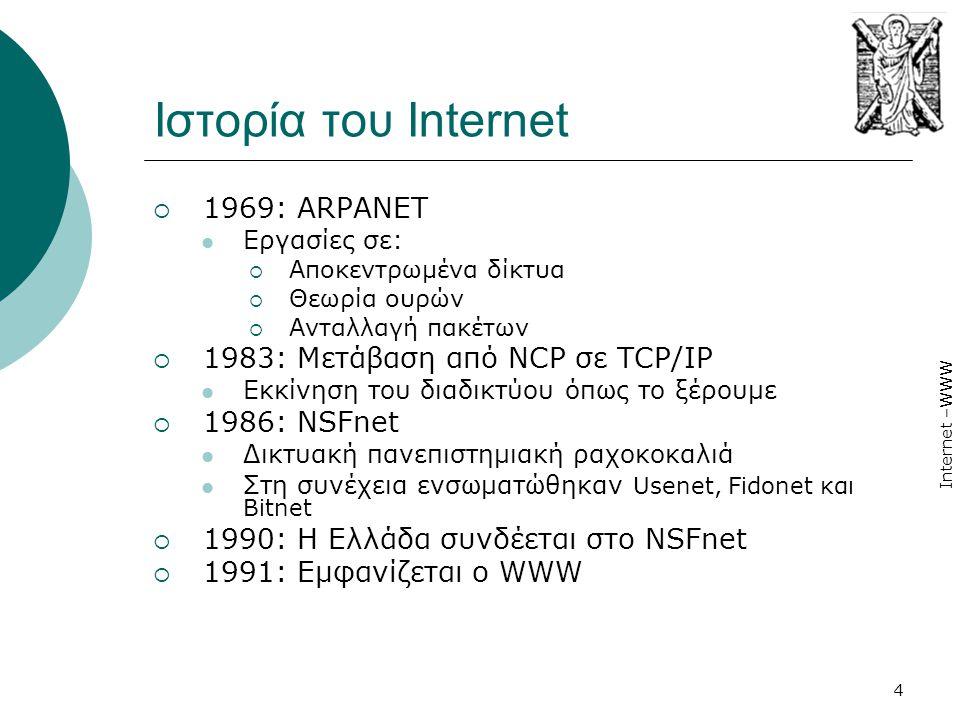 Internet –WWW 4 Ιστορία του Internet  1969: ARPANET  Εργασίες σε:  Αποκεντρωμένα δίκτυα  Θεωρία ουρών  Ανταλλαγή πακέτων  1983: Μετάβαση από NCP