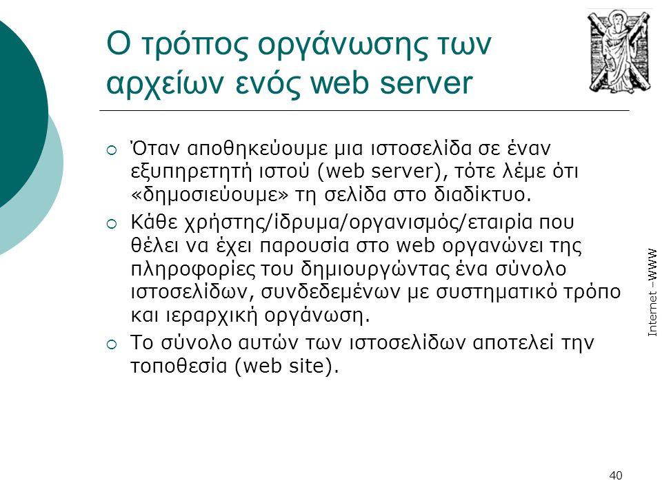 Internet –WWW 40 Ο τρόπος οργάνωσης των αρχείων ενός web server  Όταν αποθηκεύουμε μια ιστοσελίδα σε έναν εξυπηρετητή ιστού (web server), τότε λέμε ότι «δημοσιεύουμε» τη σελίδα στο διαδίκτυο.