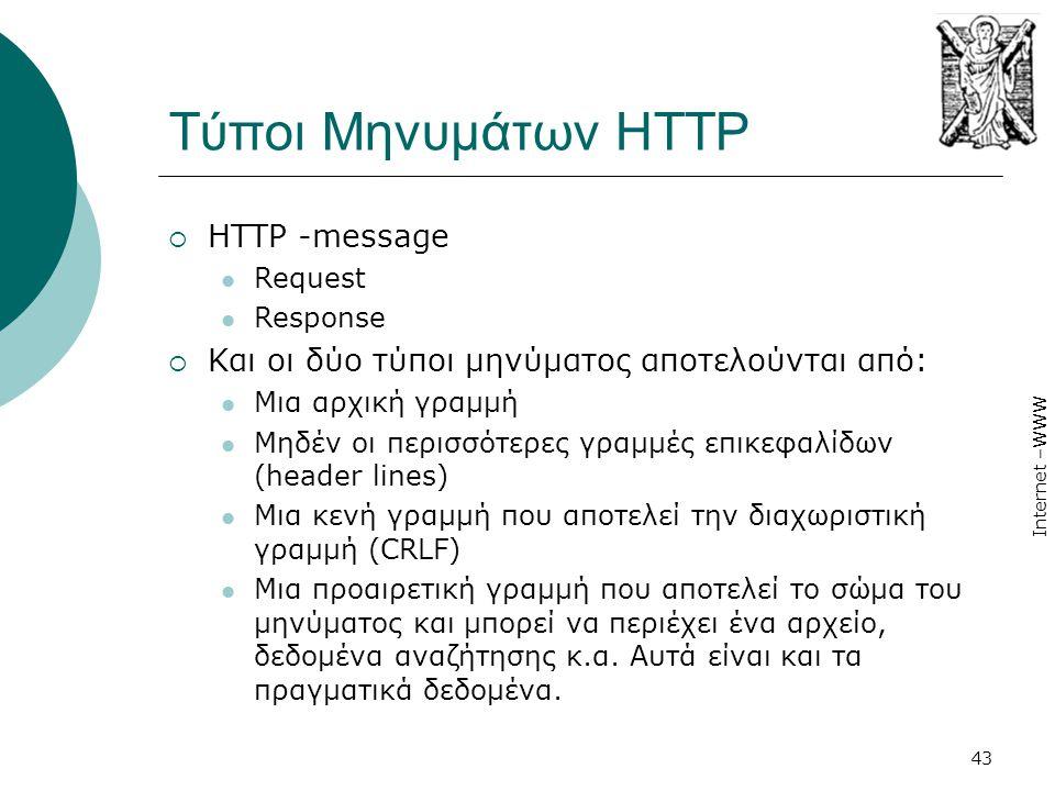 Internet –WWW 43 Τύποι Μηνυμάτων HTTP  HTTP -message  Request  Response  Και οι δύο τύποι μηνύματος αποτελούνται από:  Μια αρχική γραμμή  Μηδέν