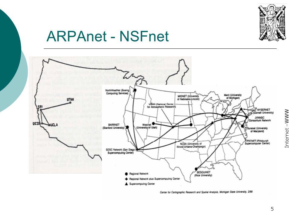 Internet –WWW 5 ARPAnet - NSFnet