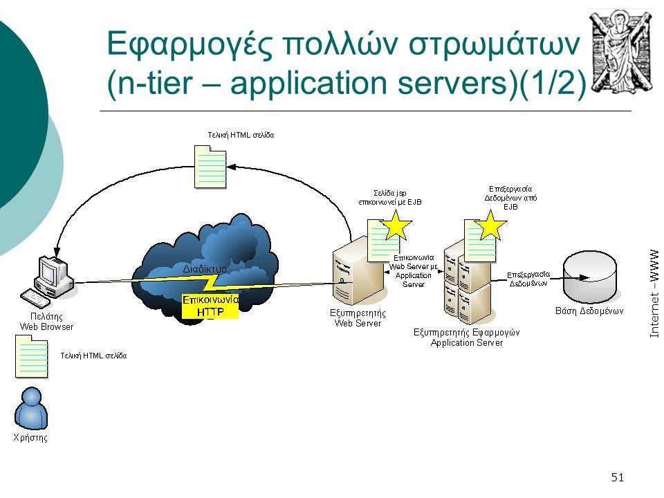 Internet –WWW 51 Εφαρμογές πολλών στρωμάτων (n-tier – application servers)(1/2)