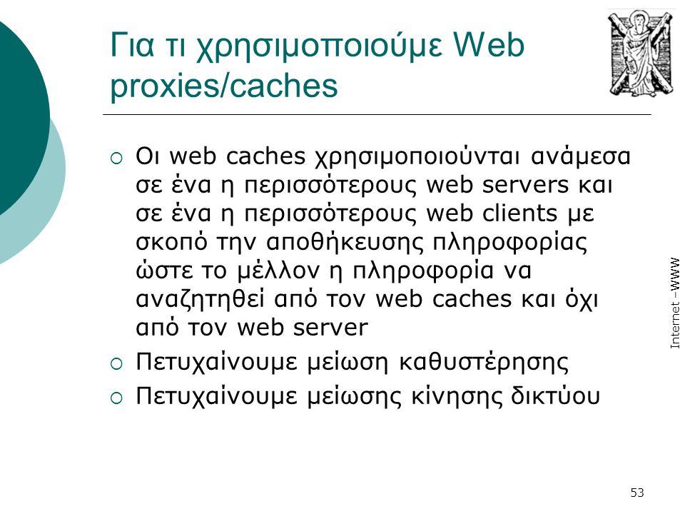 Internet –WWW 53 Για τι χρησιμοποιούμε Web proxies/caches  Οι web caches χρησιμοποιούνται ανάμεσα σε ένα η περισσότερους web servers και σε ένα η περ