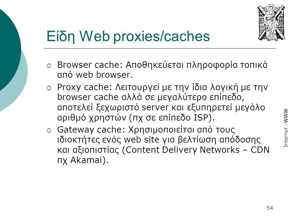 Internet –WWW 54 Είδη Web proxies/caches  Browser cache: Αποθηκεύεται πληροφορία τοπικά από web browser.  Proxy cache: Λειτουργεί με την ίδια λογική