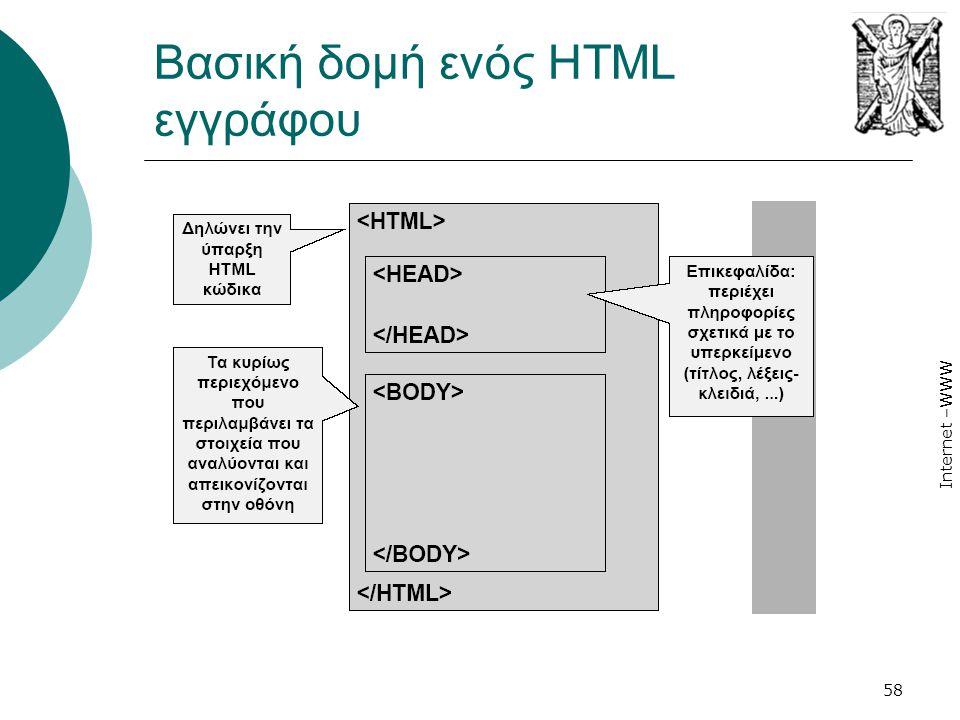 Internet –WWW 58 Βασική δομή ενός HTML εγγράφου
