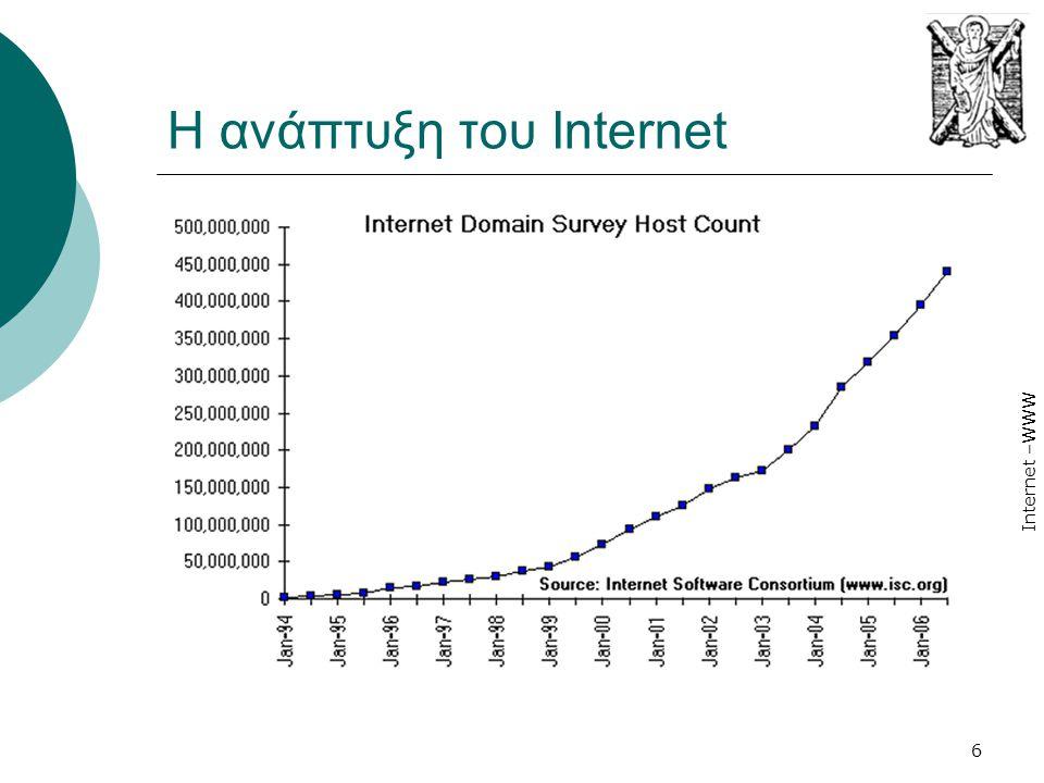 Internet –WWW 27 World Wide Web (WWW)  Εμφανίζεται το 1993 και «απογειώνει» το Διαδίκτυο,  Προέρχεται από ένα εσωτερικό σύστημα διαχείρισης εγγράφων που αναπτύχθηκε από τον Tim Berners-Lee για συναδέλφους του φυσικούς στο CERN (Ελβετία).