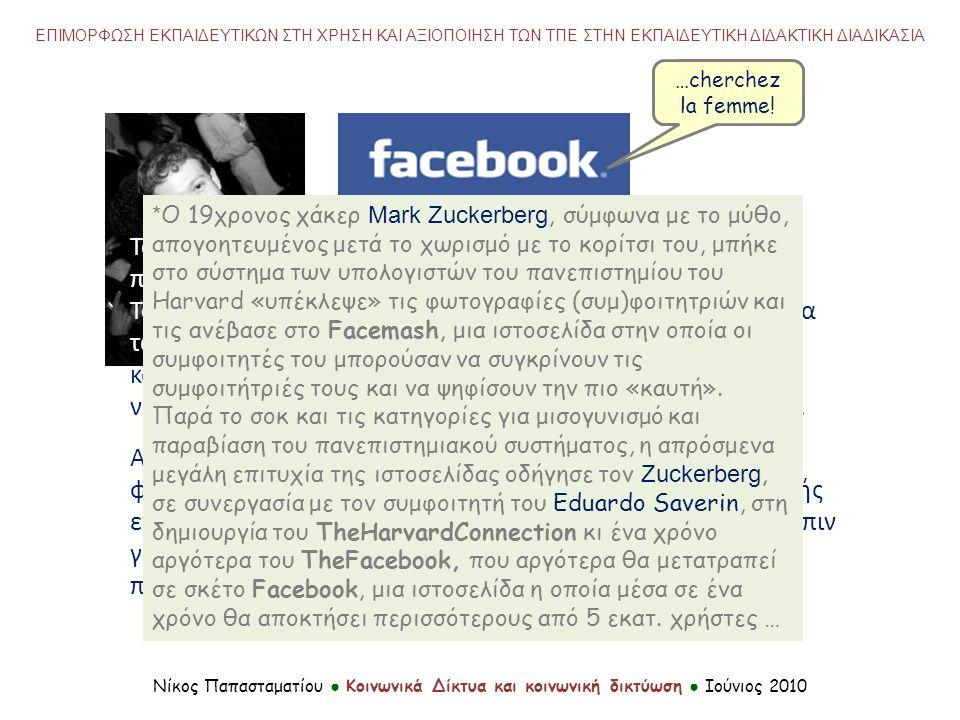 Νίκος Παπασταματίου ● Κοινωνικά Δίκτυα και κοινωνική δικτύωση ● Ιούνιος 2010 ΕΠΙΜΟΡΦΩΣΗ ΕΚΠΑΙΔΕΥΤΙΚΩΝ ΣΤΗ ΧΡΗΣΗ ΚΑΙ ΑΞΙΟΠΟΙΗΣΗ ΤΩΝ ΤΠΕ ΣΤΗΝ ΕΚΠΑΙΔΕΥΤΙΚΗ ΔΙΔΑΚΤΙΚΗ ΔΙΑΔΙΚΑΣΙΑ Το Facebook ίδρυσε ο Mark Zuckerberg*, φοιτητής στο πανεπιστήμιο του Harvard, το Φεβρουάριο του 2004.Mark ZuckerbergHarvard Το όνομα της ιστοσελίδας προέρχεται από το βιβλίο-επετηρίδα των μελών πανεπιστημιακών κοινοτήτων των αμερικάνικων κολεγίων γνωστό ως «facebook», που χρησιμοποιούσαν οι νεοεισερχόμενοι σπουδαστές για να γνωριστούν μεταξύ τους.
