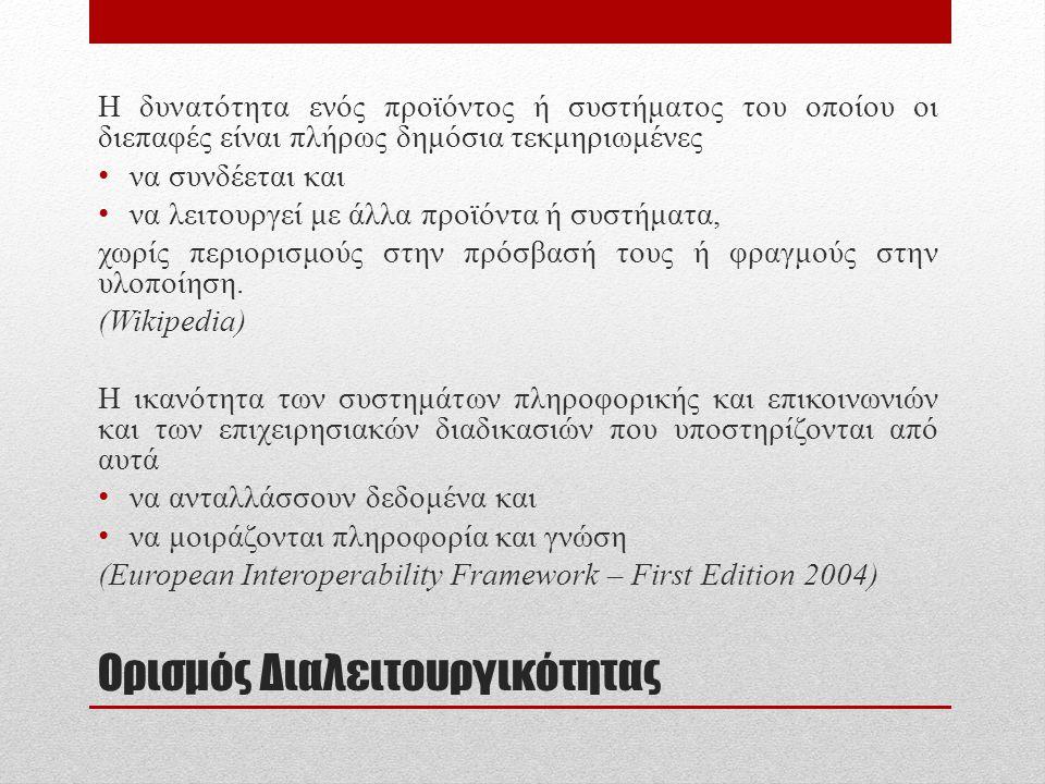 Υποδομές – Στόχοι Διαλειτουργικότητας στην Δημόσια Διοίκηση • Υποδομές • Πληροφοριακά Συστήματα (Εφαρμογές) • Δίκτυο (ΣΥΖΕΥΞΙΣ) • Πλαίσιο Συνεργασίας (Ελληνικό Πλαίσιο Διαλειτουργικότητας) • Αρχιτεκτονικές Ηλεκτρονικών Υπηρεσιών (SOAP, WSDL) • Στόχοι Διαλειτουργικότητας • Αξιοποίηση – Αποφυγή της απαξίωσης υπαρχόντων παλιών συστημάτων.