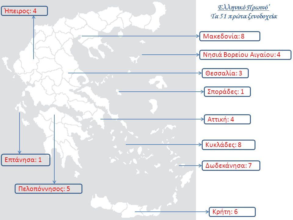 Θεσσαλία: 3 Πελοπόννησος: 5 Αττική: 4 Σποράδες: 1 Μακεδονία: 8 Επτάνησα: 1 Κρήτη: 6 Ήπειρος: 4 Δωδεκάνησα: 7 Κυκλάδες: 8 Νησιά Βορείου Αιγαίου: 4 Ελληνικό Πρωινό' Τα 51 πρώτα ξενοδοχεία
