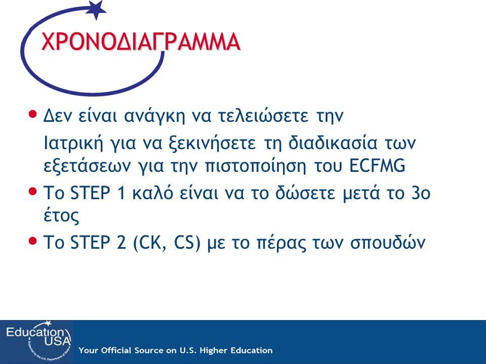 ΧΡΟΝΟΔΙΑΓΡΑΜΜΑ • Δεν είναι ανάγκη να τελειώσετε την Ιατρική για να ξεκινήσετε τη διαδικασία των εξετάσεων για την πιστοποίηση του ECFMG • Το STEP 1 κα