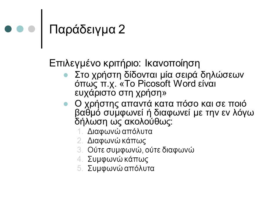 Παράδειγμα 2 Επιλεγμένο κριτήριο: Ικανοποίηση  Στο χρήστη δίδονται μία σειρά δηλώσεων όπως π.χ. «Το Picosoft Word είναι ευχάριστο στη χρήση»  Ο χρήσ