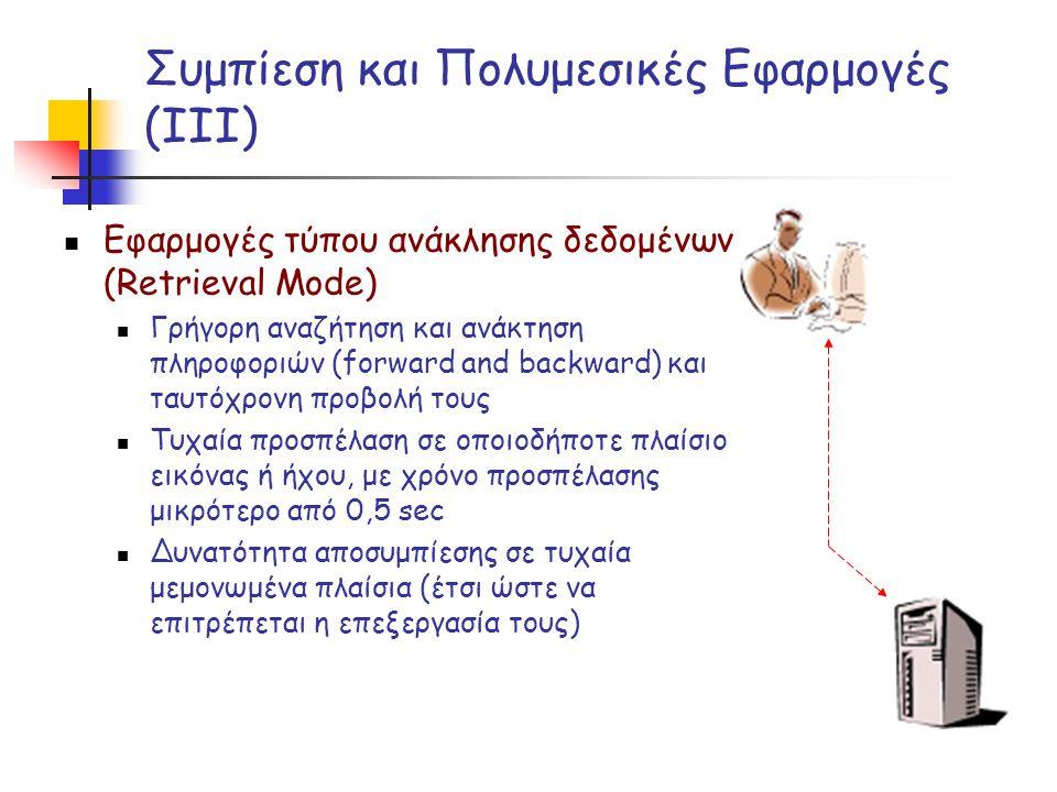 Συμπίεση και Πολυμεσικές Εφαρμογές (ΙΙΙ)  Εφαρμογές τύπου ανάκλησης δεδομένων (Retrieval Mode)  Γρήγορη αναζήτηση και ανάκτηση πληροφοριών (forward