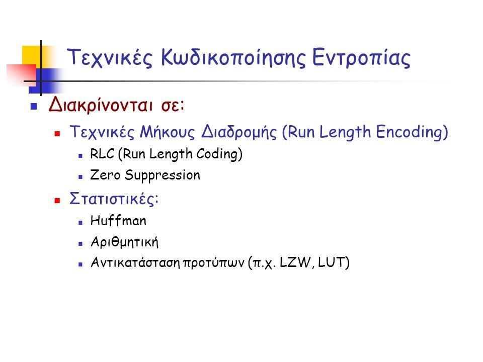 Τεχνικές Κωδικοποίησης Εντροπίας  Διακρίνονται σε:  Τεχνικές Μήκους Διαδρομής (Run Length Encoding)  RLC (Run Length Coding)  Zero Suppression  Σ