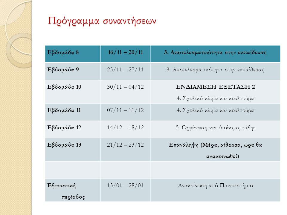 Πρόγραμμα συναντήσεων Εβδομάδα 816/11 – 20/113. Αποτελεσματικότητα στην εκπαίδευση Εβδομάδα 923/11 – 27/113. Αποτελεσματικότητα στην εκπαίδευση Εβδομά