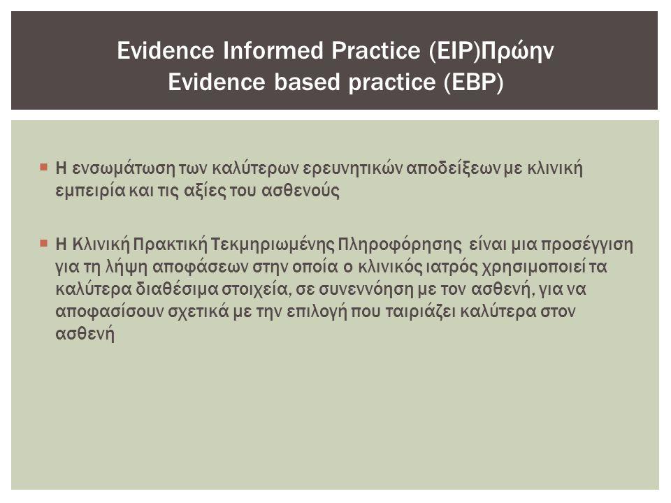 Η ενσωμάτωση των καλύτερων ερευνητικών αποδείξεων με κλινική εμπειρία και τις αξίες του ασθενούς  Η Κλινική Πρακτική Τεκμηριωμένης Πληροφόρησης είναι μια προσέγγιση για τη λήψη αποφάσεων στην οποία ο κλινικός ιατρός χρησιμοποιεί τα καλύτερα διαθέσιμα στοιχεία, σε συνεννόηση με τον ασθενή, για να αποφασίσουν σχετικά με την επιλογή που ταιριάζει καλύτερα στον ασθενή Evidence Informed Practice (EIP)Πρώην Evidence based practice (EBP)