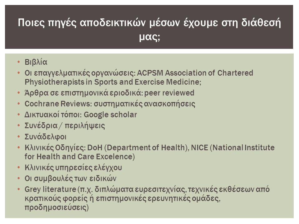 • Βιβλία • Οι επαγγελματικές οργανώσεις: ACPSM Association of Chartered Physiotherapists in Sports and Exercise Medicine; • Άρθρα σε επιστημονικά εριοδικά: peer reviewed • Cochrane Reviews: συστηματικές ανασκοπήσεις • Δικτυακοί τόποι: Google scholar • Συνέδρια / περιλήψεις • Συνάδελφοι • Κλινικές Οδηγίες: DoH (Department of Health), NICE (National Institute for Health and Care Excelence) • Κλινικές υπηρεσίες ελέγχου • Οι συμβουλές των ειδικών • Grey literature (π.χ.