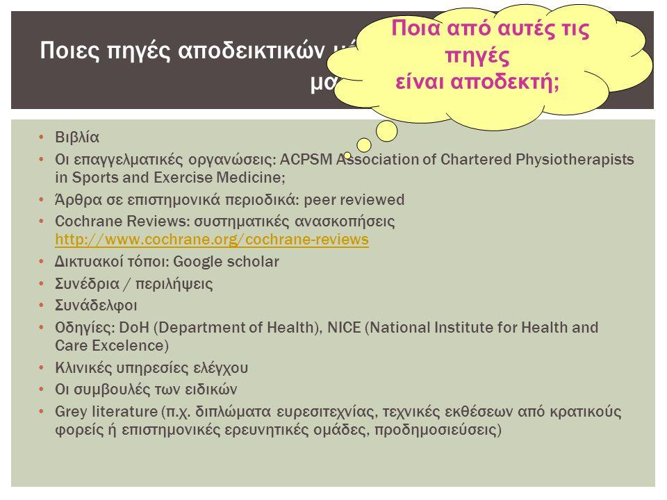 • Βιβλία • Οι επαγγελματικές οργανώσεις: ACPSM Association of Chartered Physiotherapists in Sports and Exercise Medicine; • Άρθρα σε επιστημονικά περιοδικά: peer reviewed • Cochrane Reviews: συστηματικές ανασκοπήσεις http://www.cochrane.org/cochrane-reviews http://www.cochrane.org/cochrane-reviews • Δικτυακοί τόποι: Google scholar • Συνέδρια / περιλήψεις • Συνάδελφοι • Οδηγίες: DoH (Department of Health), NICE (National Institute for Health and Care Excelence) • Κλινικές υπηρεσίες ελέγχου • Οι συμβουλές των ειδικών • Grey literature (π.χ.