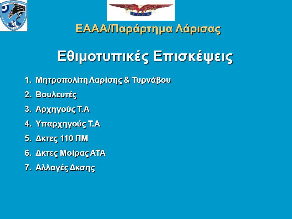Εθιμοτυπικές Επισκέψεις ΕΑΑΑ/Παράρτημα Λάρισας 1.Μητροπολίτη Λαρίσης & Τυρνάβου 2.Βουλευτές 3.Αρχηγούς Τ.Α 4.Υπαρχηγούς Τ.Α 5.Δκτες 110 ΠΜ 6.Δκτες Μοίρας ΑΤΑ 7.Αλλαγές Δκσης