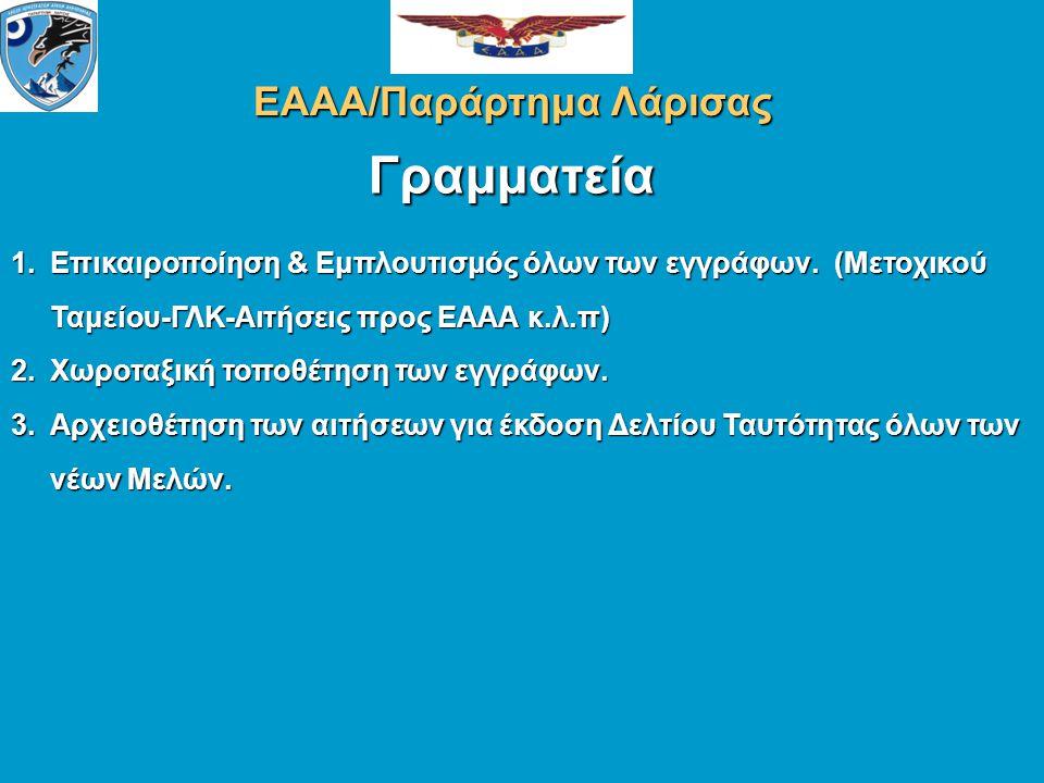 ΕΑΑΑ/Παράρτημα Λάρισας Ηλεκτρονική Αλληλογραφία Ιστοσελίδα (site) του Παραρτήματος 1.Δημιουργία Λίστας ηλεκτρονικών (e-mails) Διευθύνσεων των Μελών.