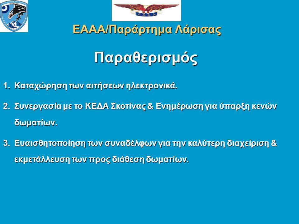Παραθερισμός ΕΑΑΑ/Παράρτημα Λάρισας 1.Καταχώρηση των αιτήσεων ηλεκτρονικά.