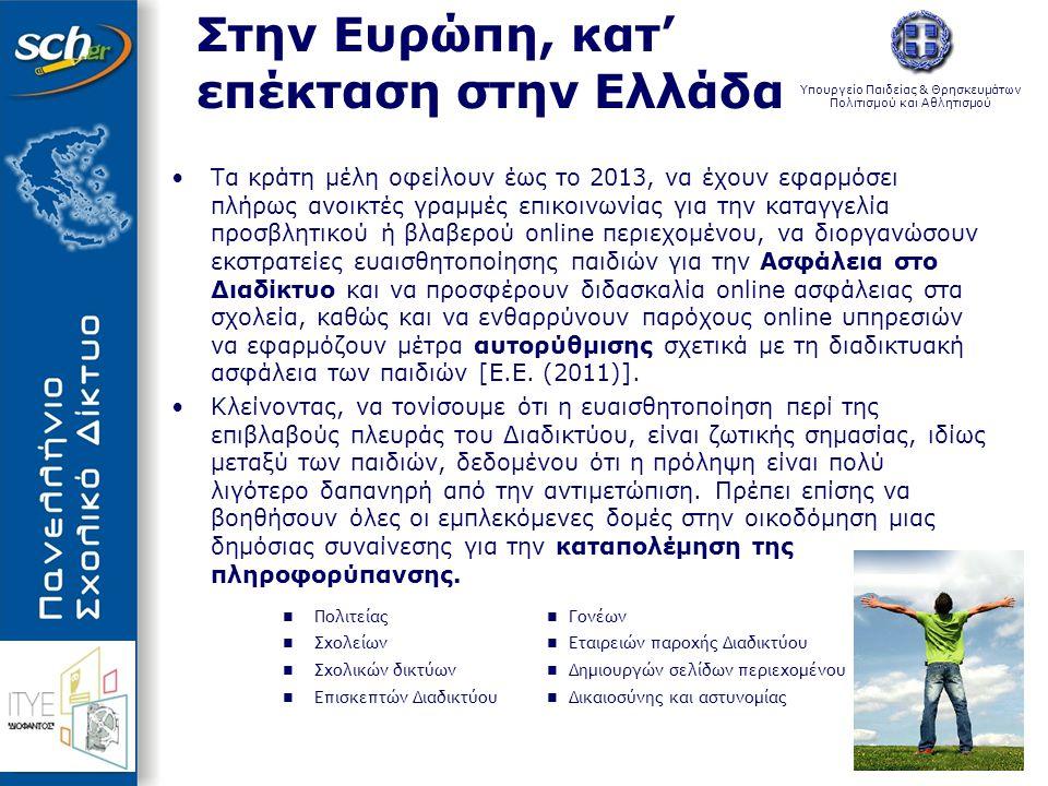 Υπουργείο Παιδείας & Θρησκευμάτων Πολιτισμού και Αθλητισμού Στην Ευρώπη, κατ' επέκταση στην Ελλάδα •Τα κράτη μέλη οφείλουν έως το 2013, να έχουν εφαρμ