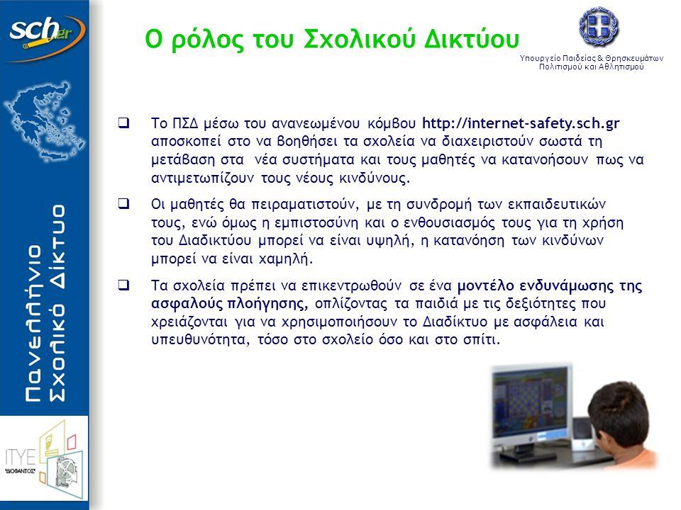 Υπουργείο Παιδείας & Θρησκευμάτων Πολιτισμού και Αθλητισμού Ο ρόλος του Σχολικού Δικτύου  Το ΠΣΔ μέσω του ανανεωμένου κόμβου http://internet-safety.s