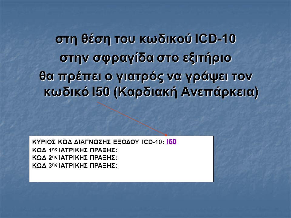 στη θέση του κωδικού ICD-10 στην σφραγίδα στο εξιτήριο θα πρέπει ο γιατρός να γράψει τον κωδικό I50 (Καρδιακή Ανεπάρκεια) I50 ΚΥΡΙΟΣ ΚΩΔ ΔΙΑΓΝΩΣΗΣ ΕΞΟΔΟΥ ICD-10: I50 ΚΩΔ 1 ης ΙΑΤΡΙΚΗΣ ΠΡΑΞΗΣ: ΚΩΔ 2 ης ΙΑΤΡΙΚΗΣ ΠΡΑΞΗΣ: ΚΩΔ 3 ης ΙΑΤΡΙΚΗΣ ΠΡΑΞΗΣ: