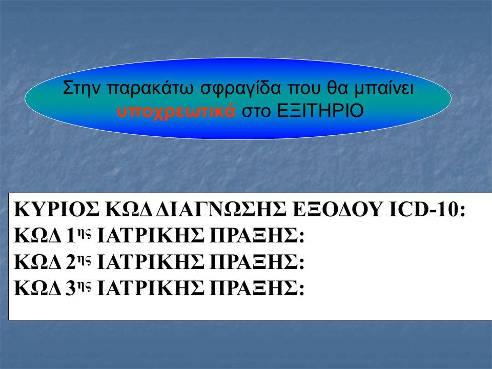 ΚΥΡΙΟΣ ΚΩΔ ΔΙΑΓΝΩΣΗΣ ΕΞΟΔΟΥ ICD-10: ΚΩΔ 1 ης ΙΑΤΡΙΚΗΣ ΠΡΑΞΗΣ: ΚΩΔ 2 ης ΙΑΤΡΙΚΗΣ ΠΡΑΞΗΣ: ΚΩΔ 3 ης ΙΑΤΡΙΚΗΣ ΠΡΑΞΗΣ: Στην παρακάτω σφραγίδα που θα μπαίνει υποχρεωτικά στο ΕΞΙΤΗΡΙΟ
