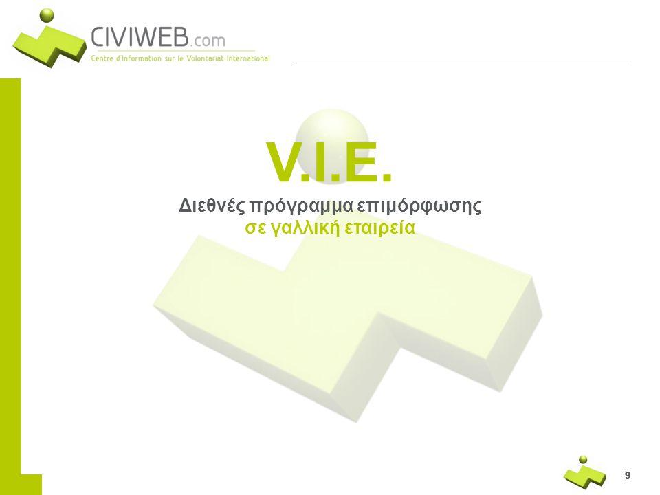 999 V.I.E. Διεθνές πρόγραμμα επιμόρφωσης σε γαλλική εταιρεία