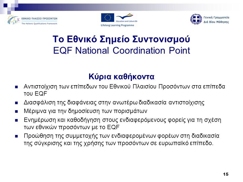 15 Το Εθνικό Σημείο Συντονισμού EQF National Coordination Point Κύρια καθήκοντα  Αντιστοίχιση των επίπεδων του Εθνικού Πλαισίου Προσόντων στα επίπεδα