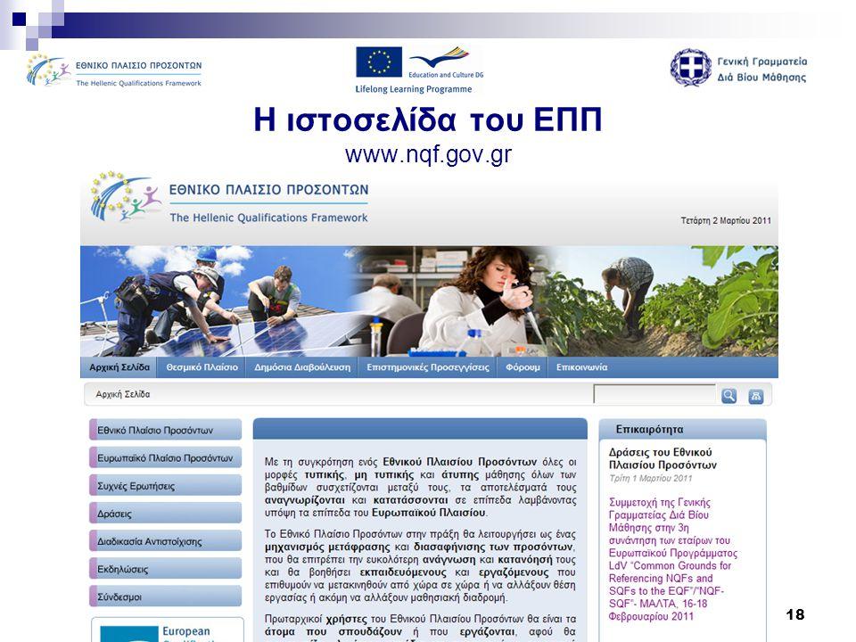 18 Η ιστοσελίδα του ΕΠΠ www.nqf.gov.gr