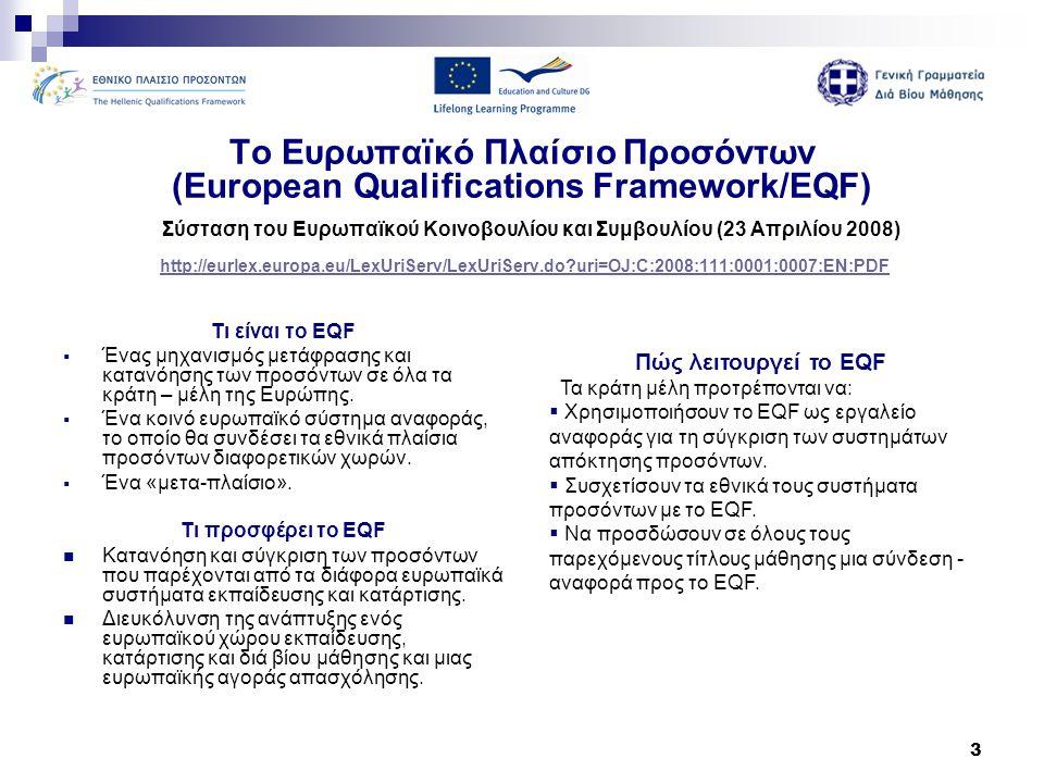 14 Η πορεία υλοποίησης του Ελληνικού Πλαισίου Προσόντων Αρμόδιοι Φορείς  Υπουργείο Παιδείας, Διά Βίου Μάθησης και Θρησκευμάτων - ασκεί την εποπτεία της διαμόρφωσης και λειτουργίας του ΕΠΠ, καθώς και το συντονισμό των εμπλεκομένων με το ΕΠΠ φορέων.