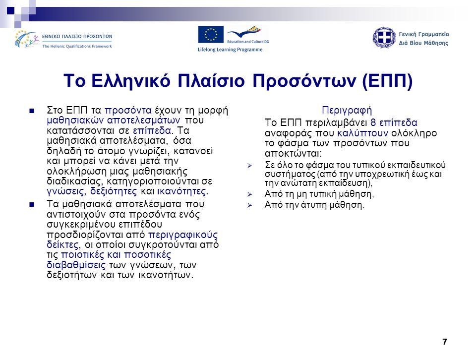 7 Το Ελληνικό Πλαίσιο Προσόντων (ΕΠΠ)  Στο ΕΠΠ τα προσόντα έχουν τη μορφή μαθησιακών αποτελεσμάτων που κατατάσσονται σε επίπεδα. Τα μαθησιακά αποτελέ