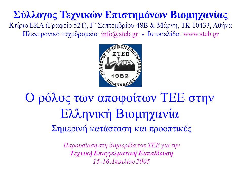 Ο ρόλος των αποφοίτων ΤΕΕ στην Ελληνική Βιομηχανία Σημερινή κατάσταση και προοπτικές Παρουσίαση στη διημερίδα του ΤΕΕ για την Τεχνική Επαγγελματική Εκπαίδευση 15-16 Απριλίου 2005 Σύλλογος Τεχνικών Επιστημόνων Βιομηχανίας Κτίριο ΕΚΑ (Γραφείο 521), Γ' Σεπτεμβρίου 48Β & Μάρνη, TK 10433, Αθήνα Ηλεκτρονικό ταχυδρομείο: info@steb.gr - Ιστοσελίδα: www.steb.grinfo@steb.gr
