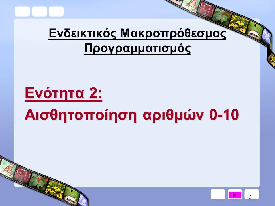 6 Ενδεικτικός Μακροπρόθεσμος Προγραμματισμός Ενότητα 3: Πρόσθεση μονοψήφιων αριθμών με άθροισμα μικρότερο ή ίσο με 10