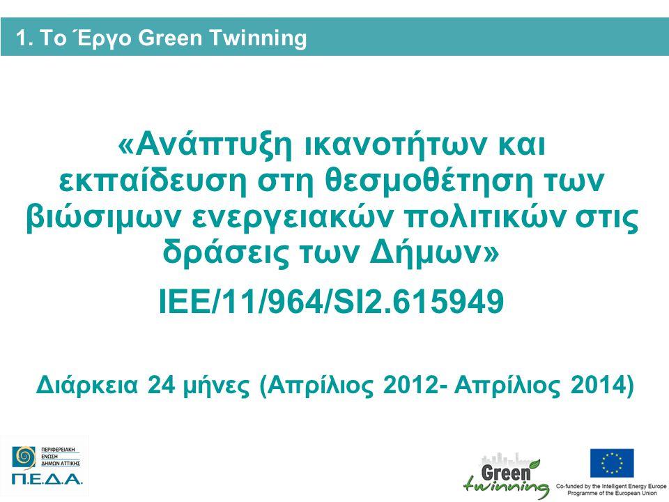 1. Το Έργο Green Twinning «Ανάπτυξη ικανοτήτων και εκπαίδευση στη θεσμοθέτηση των βιώσιμων ενεργειακών πολιτικών στις δράσεις των Δήμων» IEE/11/964/SI