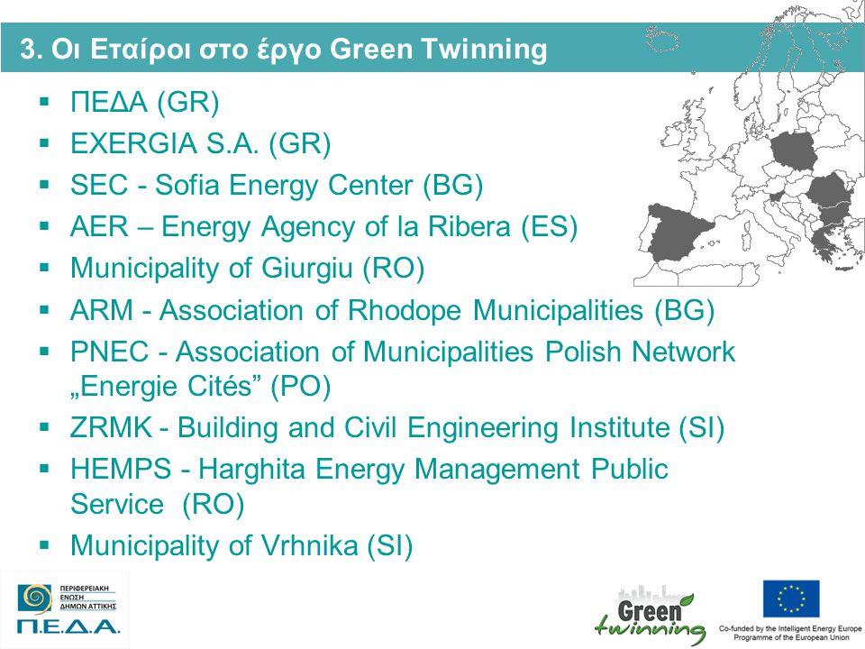 3. Οι Εταίροι στο έργο Green Twinning  ΠΕΔΑ (GR)  EXERGIA S.A. (GR)  SEC - Sofia Energy Center (BG)  AER – Energy Agency of la Ribera (ES)  Munic